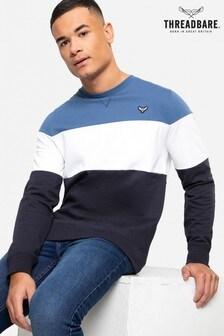Threadbare blue Lennox Colour Block Crew Neck Sweatshirt