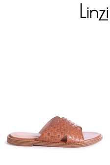 Linzi Brown Harlem Slip On Slider With Woven Crossover Front Strap