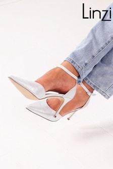 Linzi Silver Maci Stiletto Court Heel With Ankle Strap