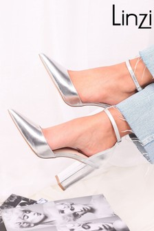 Linzi Silver Marlie Court Shoe With Ankle Strap  Block Heel