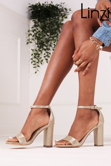Linzi Gold Selena Faux Leather Barely There Block High Heel