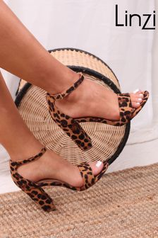 Linzi Brown Leopard Nelly Barely There Block Heel