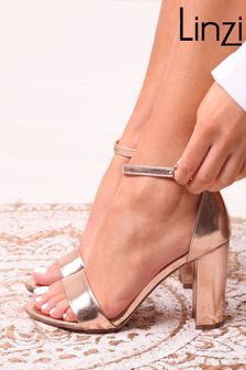 Linzi ROSE GOLD Nelly Suede Barely There Block Heel