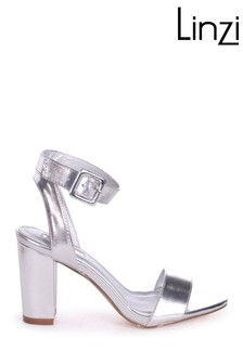 Linzi Silver Millie Open Toe Block Heel With Ankle Strap And Buckle Detail