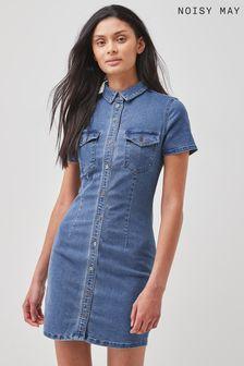 Noisy May Medium Blue Denim Button Through Denim Dress