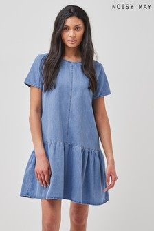 Noisy May Medium Blue Denim Denim Smock Dress