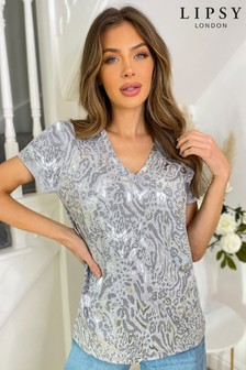 Lipsy Grey Animal Print V Neck T Shirt