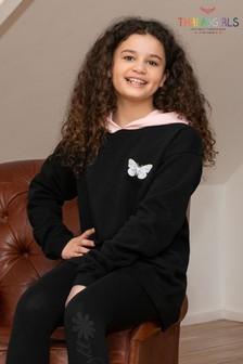 Threadgirls Black Oversized Fleece Hoodie With Contrast Hood