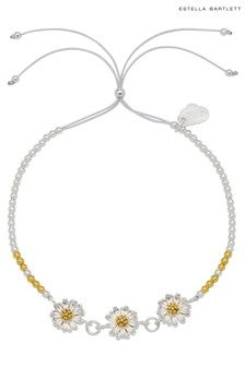 Estella Bartlett Silver Daisy Chain  Bead Slider Bracelet