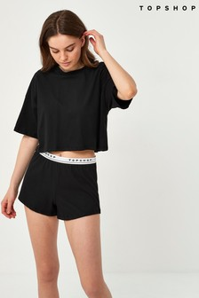 Topshop Black Branded Boxy Short Sleeve Pyjama Set