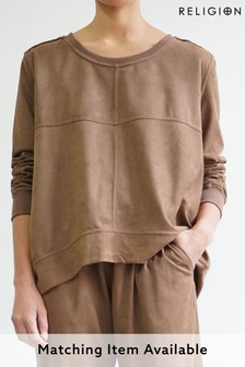 Religion Camel Oversized Co-ord Lounge Sweat Style Top In Suedette