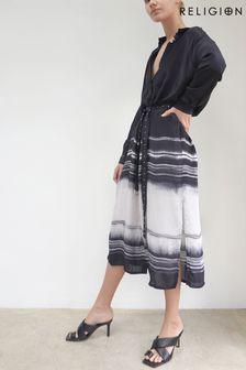 Religion Black/White Midi Shirt Dress With Tie Belt