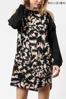 Religion Black Tunic Dress In Animal Print With Button Details
