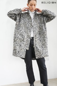 Religion Neutral/Black Leopard Printed Woollen Coat With Parka Detailing