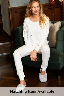 Sosandar Cream Star Print Loungewear Top Co-Ord