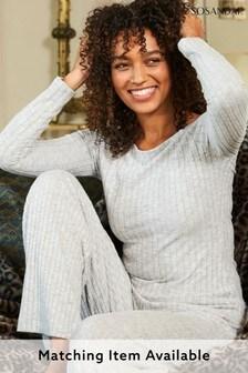 Sosandar Grey Knitted Rib Loungewear Top Co-Ord