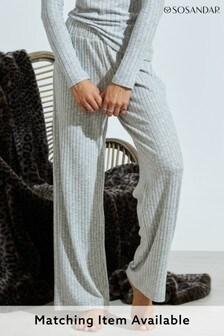 Sosandar Grey Knitted Rib Wide Leg Loungewear Trousers Co-Ord