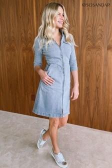 Sosandar Grey Zip Front Denim Dress With Pockets