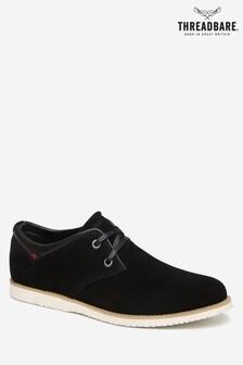 Threadbare Black Silas Derby Shoe Faux Suede