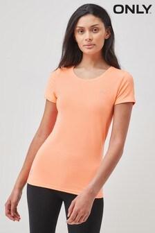 Only Neon Orange Gym Training T-Shirt