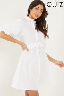 Quiz White Puff Sleeve Shirt Dress