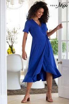 Pour Moi Cobalt Megan Slinky Recycled Jersey Frill Detail Midi Wrap Dress