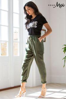 Pour Moi Green Anna Woven Cargo Trouser