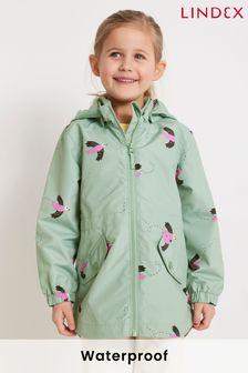 Lindex Green Removable Hood Rain Jacket