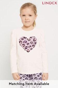 Lindex Purple Kids Long Sleeve Leopard Heart T-Shirt