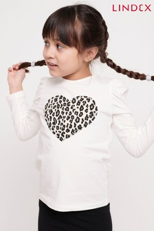 Lindex White Kids Long Sleeve Leopard Heart T-Shirt