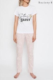 Society 8 Pink Printed T Shirt Pyjama Set