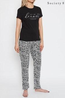 Society 8 Black Printed T Shirt Pyjama Set