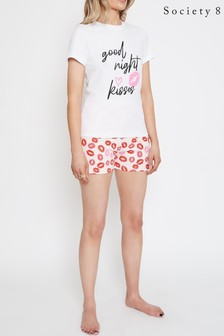 Society 8 Pink Printed Short Pyjama Set
