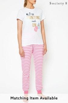 Society 8 Pink Womens Easter Matching Egg Hunter Pyjama Set
