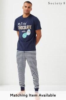 Society 8 Navy Mens Matching Easter Chocolate Hunter Pyjama Set