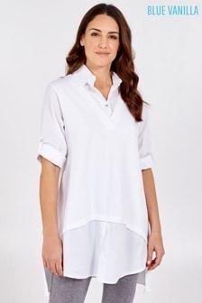 Blue Vanilla White 2In1 Oversized Vest And Shirt Tunic
