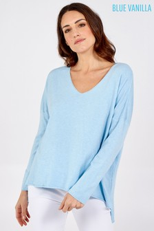Blue Vanilla Blue V Neck Hi Low Oversized Top
