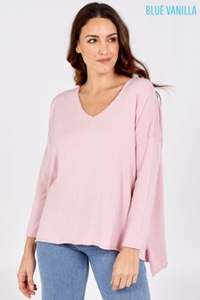 Blue Vanilla Pink V Neck Hi Low Oversized Top