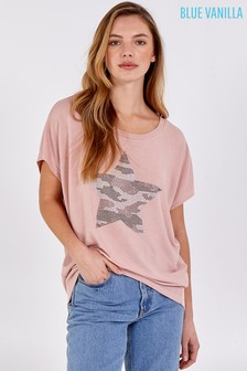 Blue Vanilla Pink Diamante Star Oversized Top
