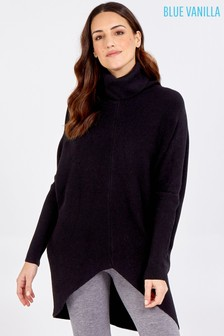 Blue Vanilla Black Roll Neck Oversized Jumper Tunic