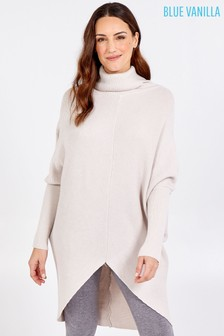 Blue Vanilla Brown Roll Neck Oversized Jumper Tunic