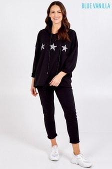 Blue Vanilla Black Glitter Star Hoodie Loungewear Set