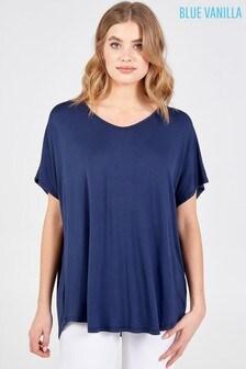 Blue Vanilla Navy Basic Oversized Tee Top