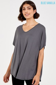 Blue Vanilla Grey Basic Oversized Tee Top
