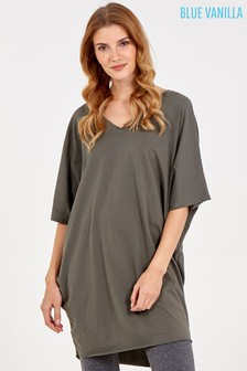 Blue Vanilla Khaki Double V Neck Tunic