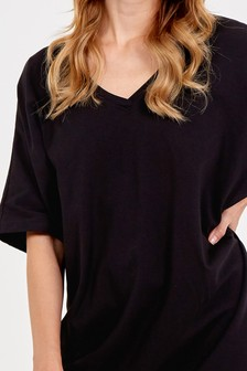 Blue Vanilla Black Double V Neck Tunic