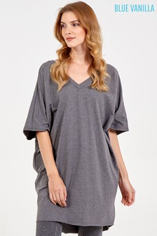 Blue Vanilla Grey Double V Neck Tunic