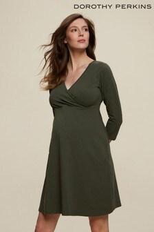 Dorothy Perkins Green Maternity Khaki 3/4 Wrap Dress