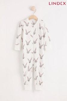 Lindex White Bunny Zip Sleepsuit (Baby)