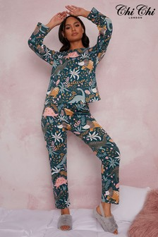 Chi Chi London Green Long Sleeve Jersey Pyjamas In Green Dinosaur Print